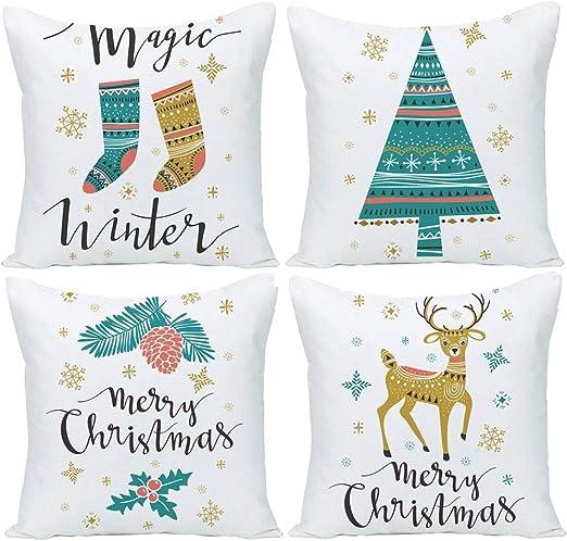 Cotton Linen Christmas Xmas Socks Pillow Case Throw Cushion Cover Home Decor sq