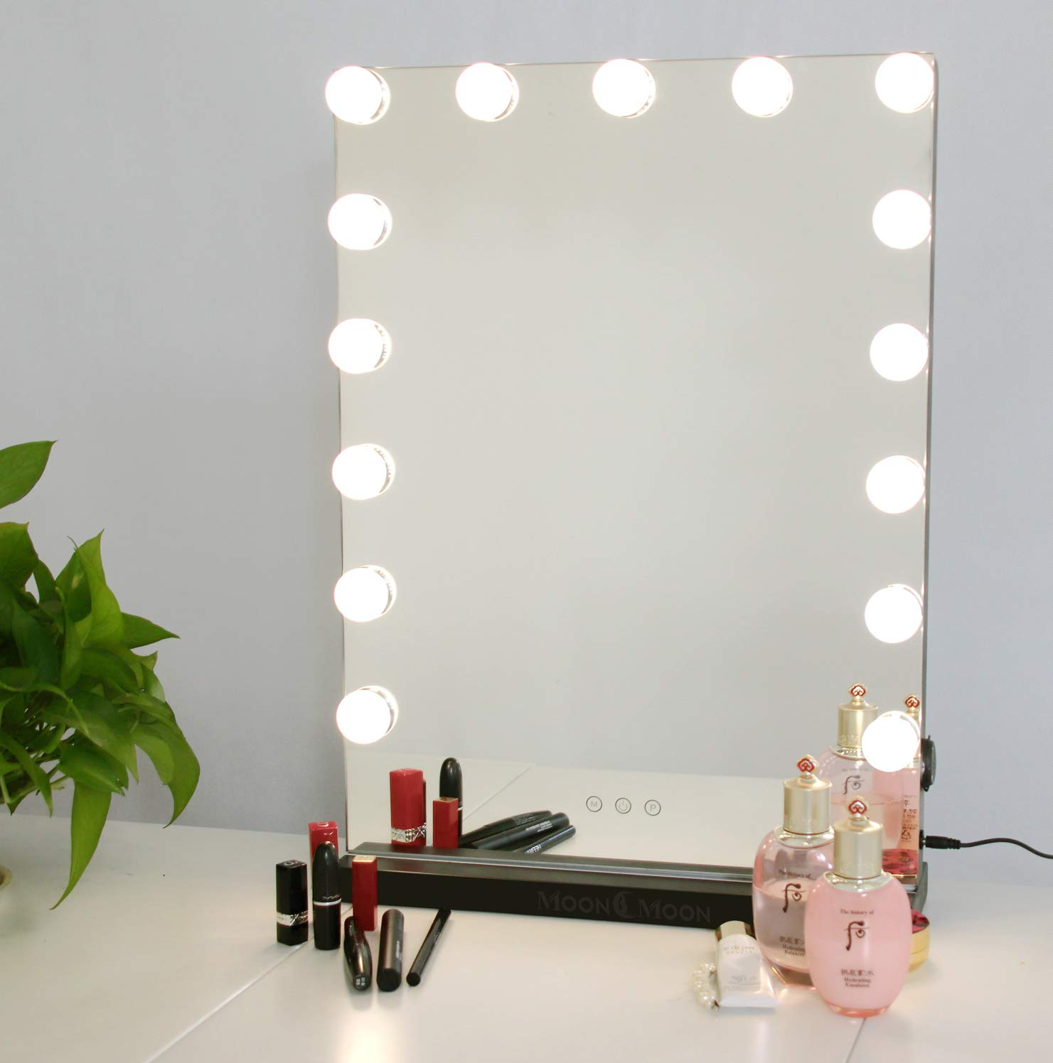 Moon Moon Hollywood Vanity Mirror with Lights,Professional Makeup Mirror & Lighted Vanity Makeup mirror with Smart Touch Adjustable LED Lights (White)