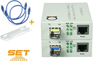 Single Mode LC WDM Single Fiber Bi-Di Gigabit Media Converter - Built-in Fiber Module 20km (12.42 Miles) - to UTP Cat5e Cat6 10/100/1000 RJ-45 - Auto Sensing Gigabit or Fast Ethernet Speed -1 Pair
