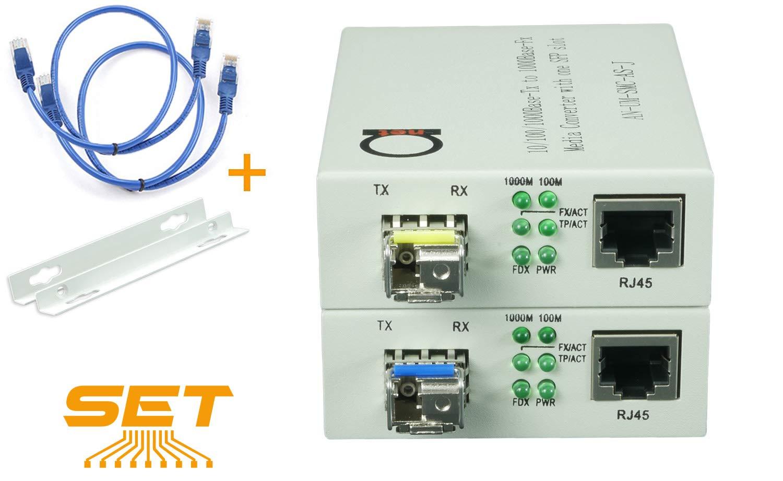 Single Mode LC WDM Single Fiber Bi-Di Gigabit Media Converter - Built-in Fiber Module 20km (12.42 Miles) - to UTP Cat5e Cat6 10/100/1000 RJ-45 - Auto Sensing Gigabit or Fast Ethernet Speed -1 Pair by ADnet
