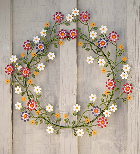 Painted Metal Wreath with Daisies - 21.75 L x 20 W x 0.75 H - (Multi Colored Daisies)