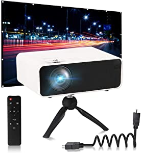 Mini Video Projector with Screen, LaBold HD 1080P Supported LCD Mini Movie Projector with 120 inch Projector Screen Set, for Home Theater, Story Time, TV Movie, Party Game, Outdoor Entert