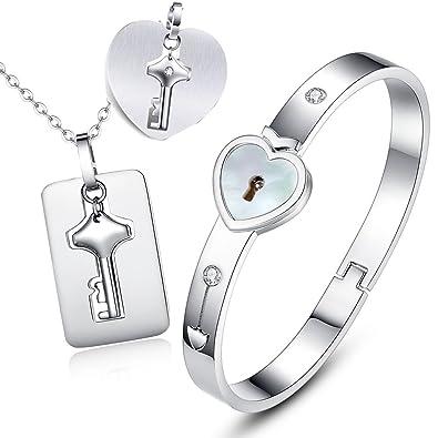 Perle Farbe Inlay- Valentinstag Kette und Armband Herz Schloss und ...