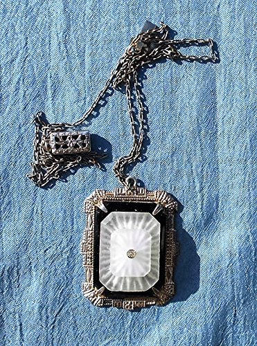 - Lovely Double Camphor Glass w/ Rhinestone in Etched Marked Sterling Setting, on Silver Plated Necklace w/ Filigree Clasp.