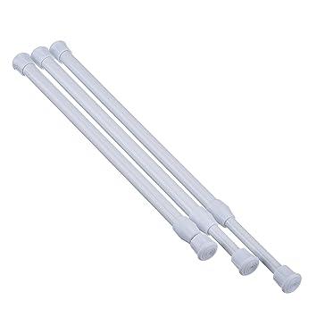 3 Packung Verstellbare Schrank Spannstangen Zugstangen Duschvorhang Stange,  11 Pfund Maximale Lagergewicht, Weiß