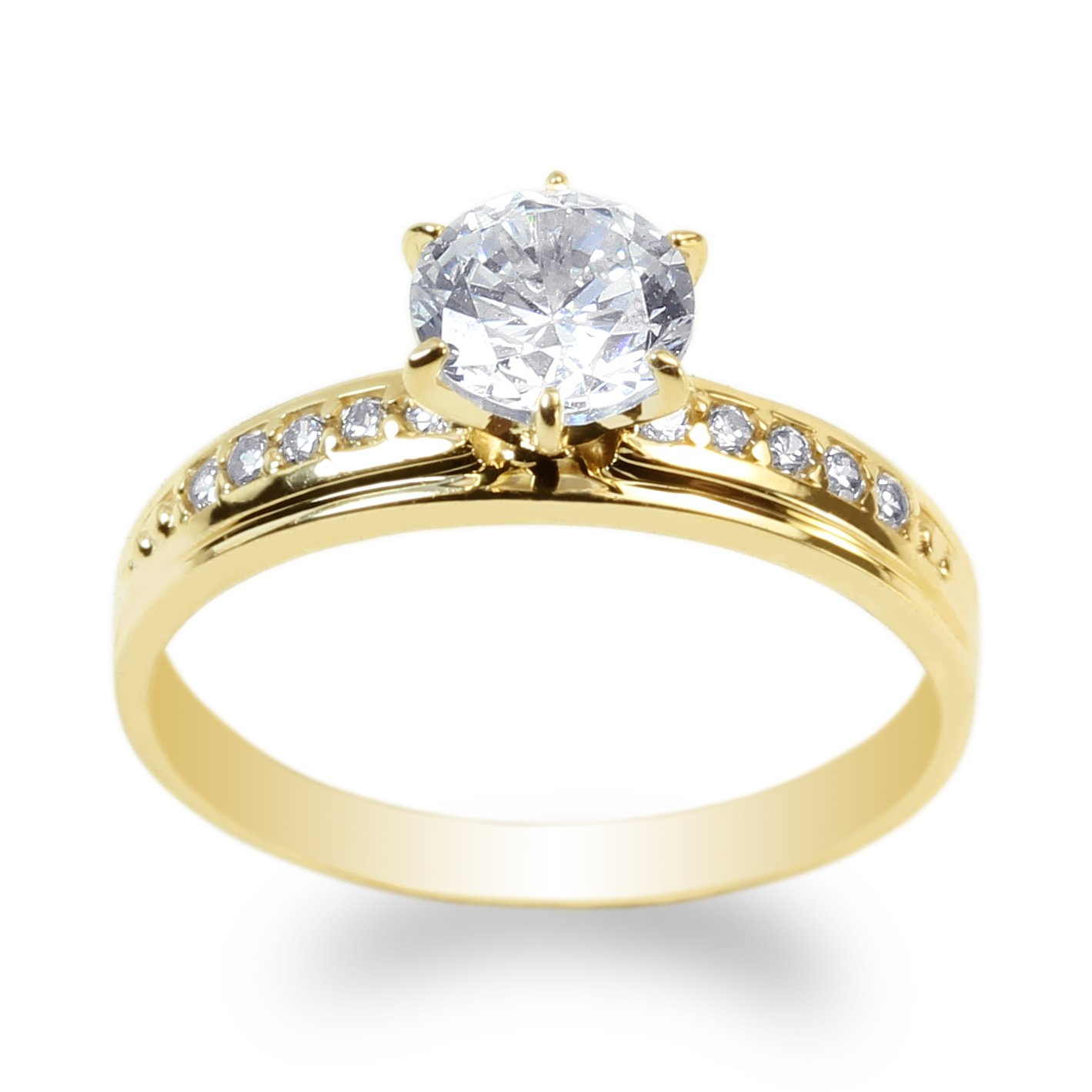 JamesJenny Yellow Gold Plated 1.0 ct Clear CZ Beautiful Solitaire Ring Size 7