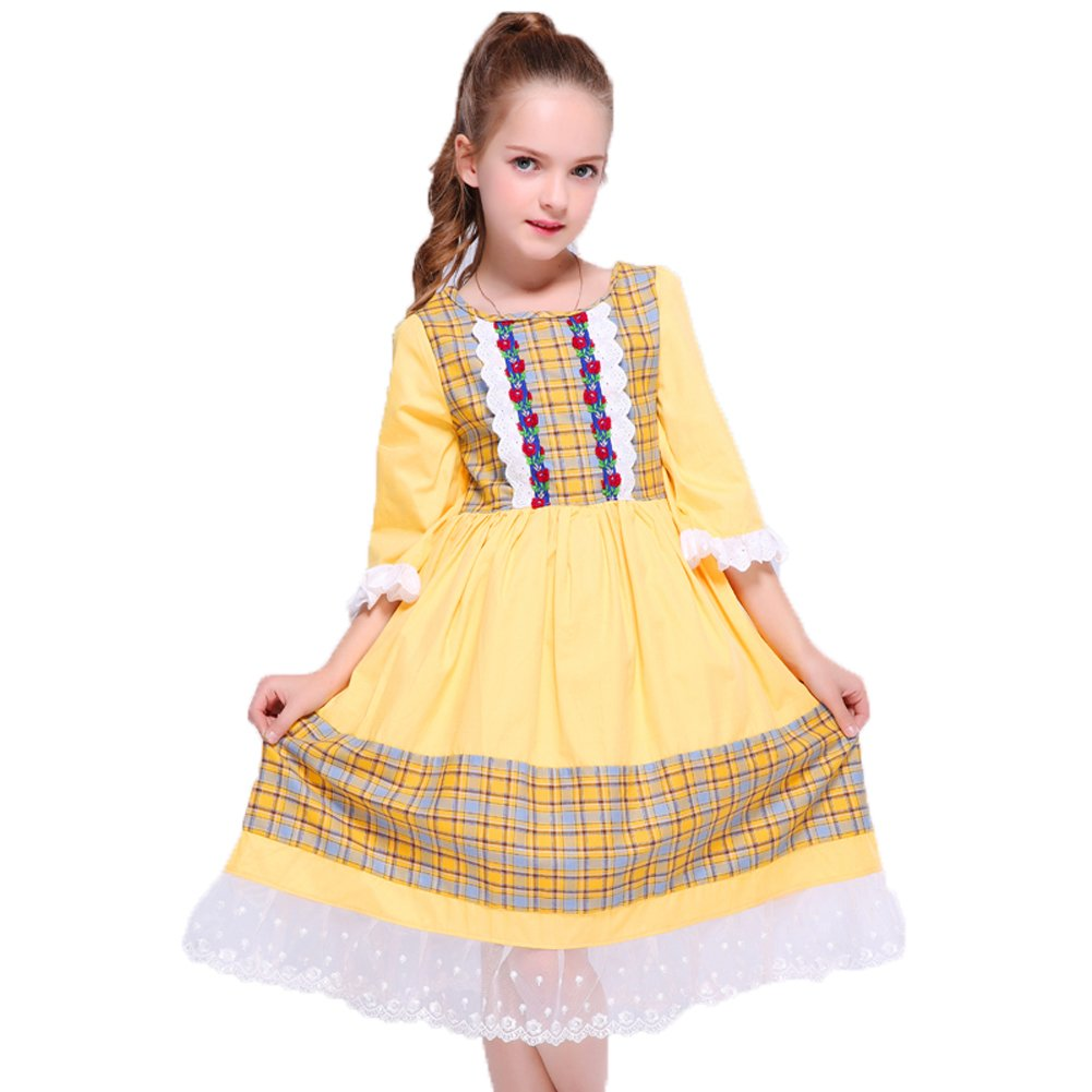 Kseniya Kids Big Little Girls Dresses For Party And Wedding Lace Net Patchwork Plaid Petal Sleeve (7-8y)