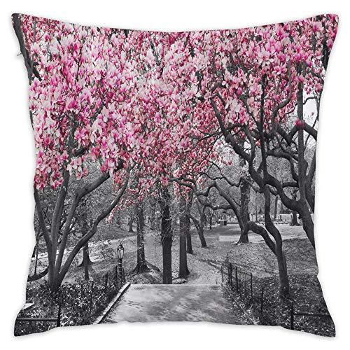 Podas Big Blossoms in Central Park Cherry Trees Forest Decorative Pillow Case Throw Pillows Covers for Couch/Bed 18 X 18 Inch Home -