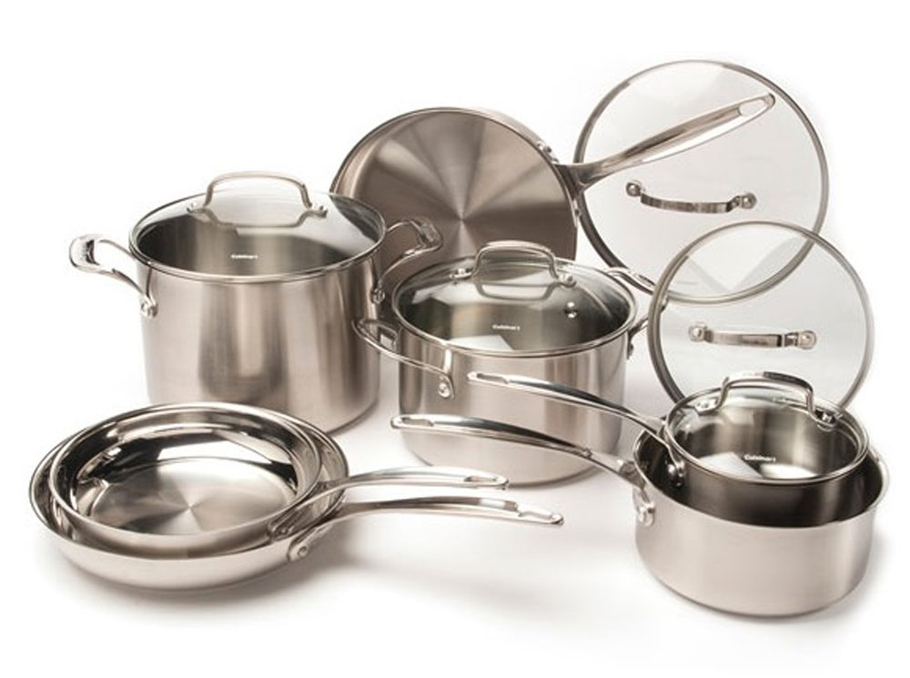 CUISINART 12-Piece Stainless Steel Cookware Set, Chrome