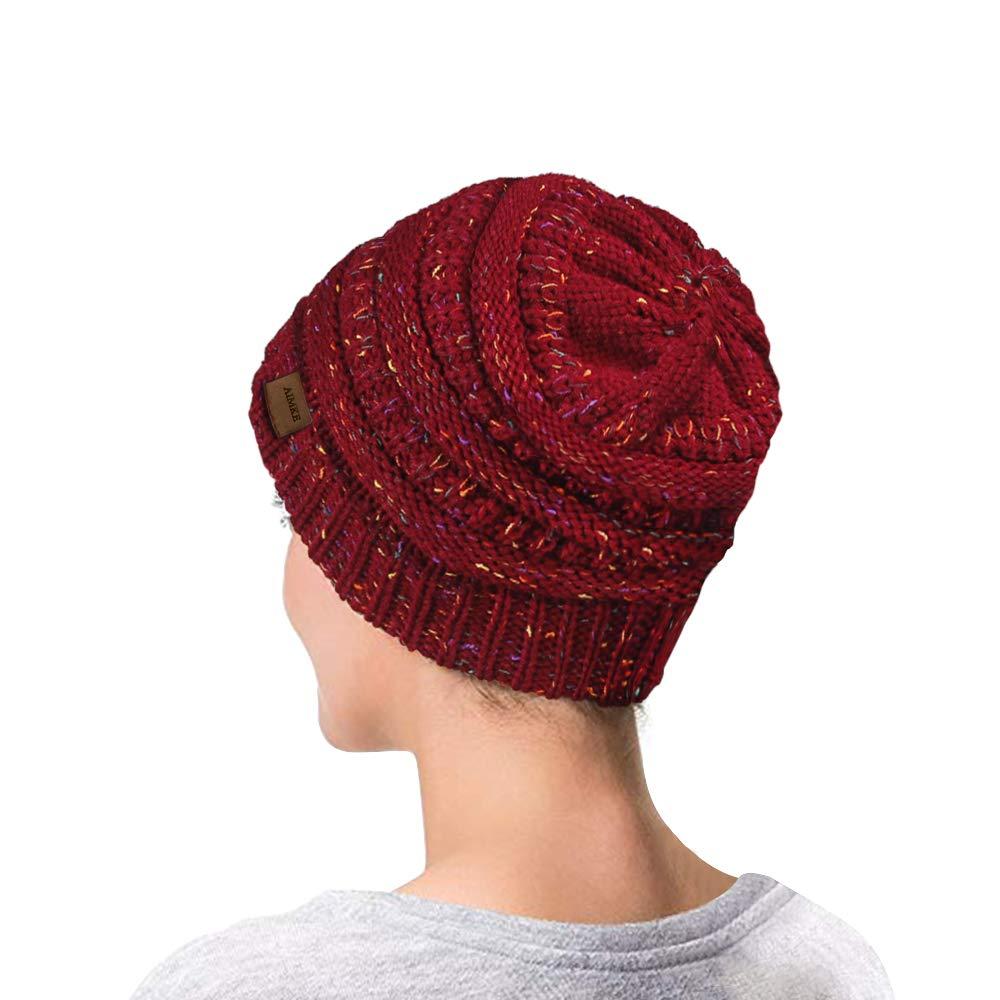 AIMKE Women\'s Warm Chunky Thick Stretchy Knit Beanie Skull Cap (Wine)