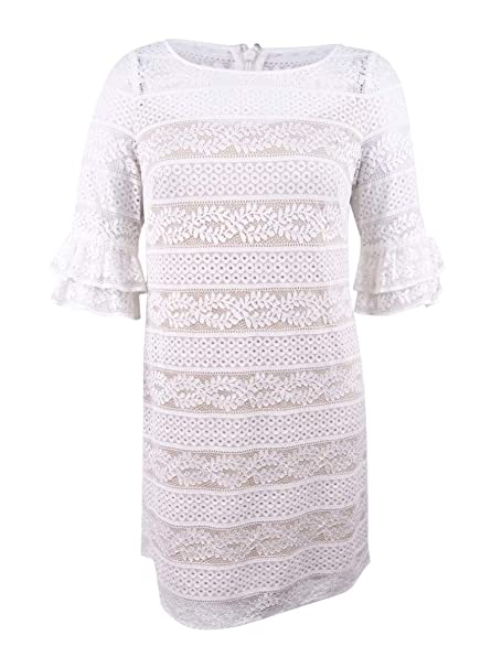 Jessica Howard Womens Lace Shift With Double Ruffle At