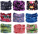 Kingree 9PCS Outdoor Headscarves for ATV/UTV riding, Seamless Bandanas Tube, High Elastic Headband with UV Resistance, Womens and Mens Headband Headwear Headwrap (Paisley Scroll )