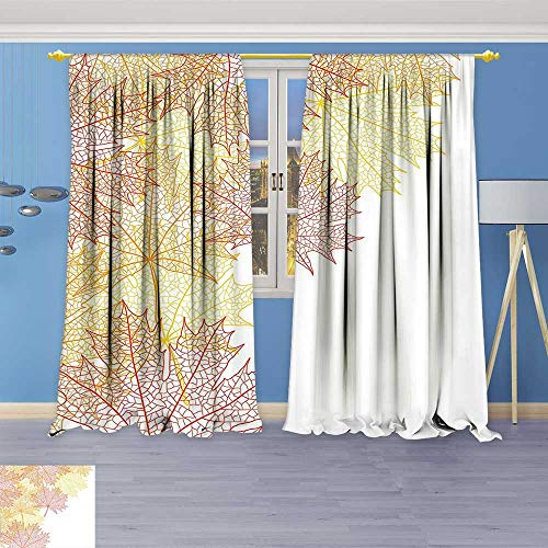 Philiphome Kitchen Decor Collection,Collection Pattern with Maple Tree Fall Leaves Skeleton Dried Golden Forms Halloween Decoration,Window Treatments for Kitchen Curtains 2 Panels