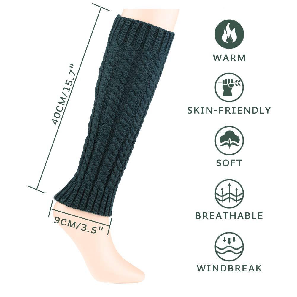 Quacoww 3 Pairs Women Leg Warmers Knit Leg Warmers Winter Leg Socks