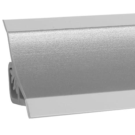 HOLZBRINK Alzatina per Piano Cucina Alluminio Satinato Listella di Finitura  in PVC 23x23 mm 150 cm