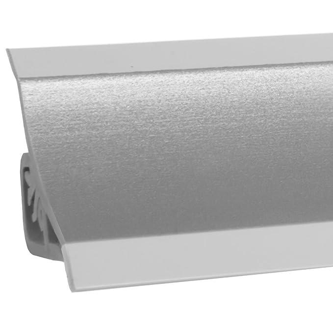 HOLZBRINK Acabado de PVC para Copete de Encimera Listón de Acabado Aluminio Satén Copete de Encimera de Cocina 23x23 mm: Amazon.es: Bricolaje y herramientas