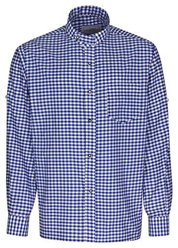 Herren Stehkragen Hemd der Marke FROHSINN - Trachten Hemd Slim Fit figurbetont mit Stehkragen und Riegel, Trachtenhemd wahlweise in grün, blau oder rot - Alle Größen - Herrenhemd ideal zur Lederhose oder als Freizeithemd(blau, S)