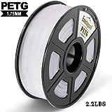 PETG 3D Printer Filament,PETG Filament 1.75mm,2.2LBS 1KG Spool,Dimensional Accuracy 1.75+/- 0.02mm,Ductile&Non-toxic Material For most 3D Printer,Enotepad White PETG