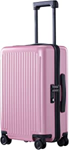 NINETYGO Carry on Luggage with Spinner Wheels, 22x14x9 Luggage, 100% PC Lightweight Hardside Suitcase with TSA Lock (20-inch Purple)
