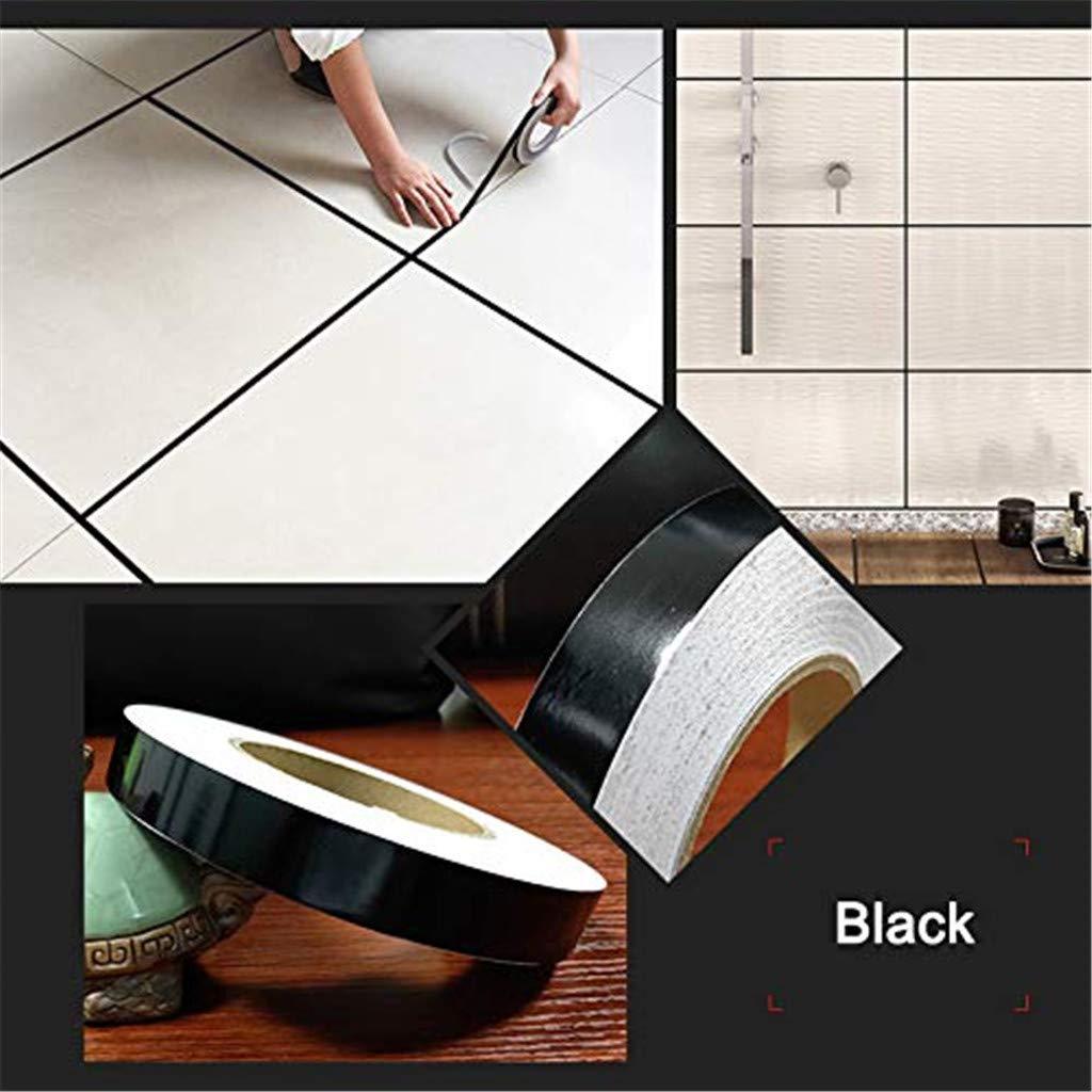 Noir, 5 mm Hikaka Ruban adh/ésif en c/éramique Carreau de c/éramique Bande Anti-moisissure Auto-adh/ésive d/étanch/éit/é au Sol pour Sol en mosa/ïque Bande imperm/éable de Feuille dor 50 m/ètres