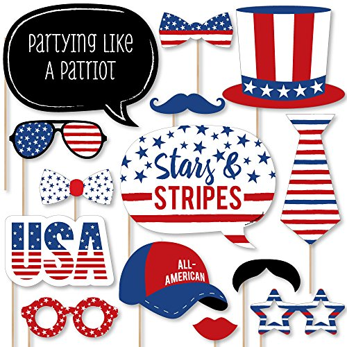 Stars & Stripes - 4th of July USA Patriotic Independence Day Party Photo Booth Props Kit - 20 Count
