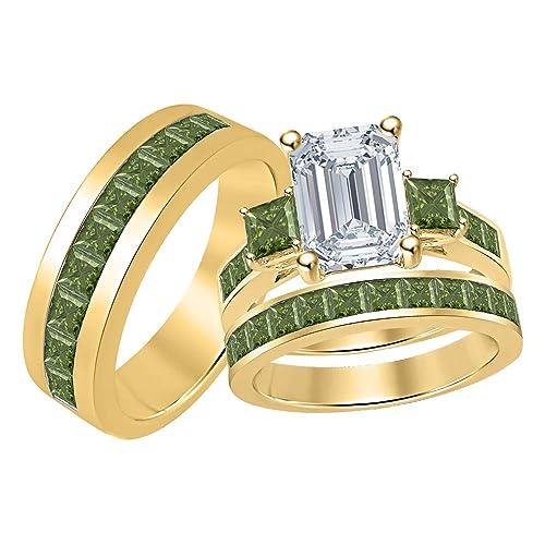 Amazon Com Three Stone Emerald Princess Cut White Cubic