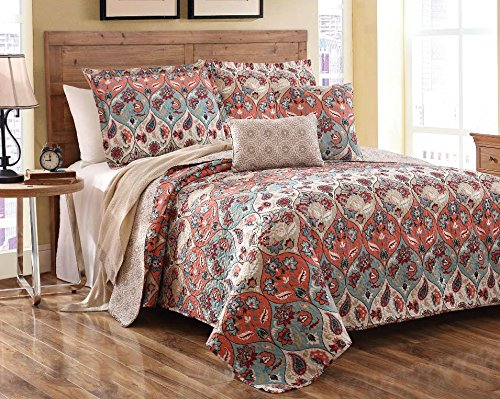 Floral Paisley Garden Party Reversible Bedspread Quilt Set, Queen, 3-Pieces