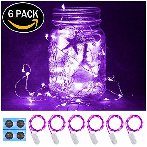 6 Pack,7Feet 20 LED Starry String Lights, Silver Wire,2pcs CR2032 Batteries Included, Firefly Fairy String Lights LED Moon Lights for DIY Dinner Party,Table Decoration,Wedding Centerpiece(Purple)