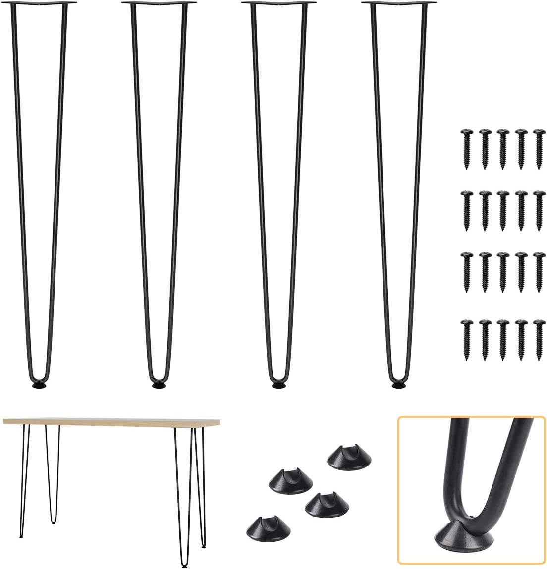"""ELICIT 28"""" Hairpin Legs with Industrial Heavy Duty Steel, Set of 4 Modern Satin Black Metal Furniture Legs, for Coffee Table, Stand and DIY Desk"""