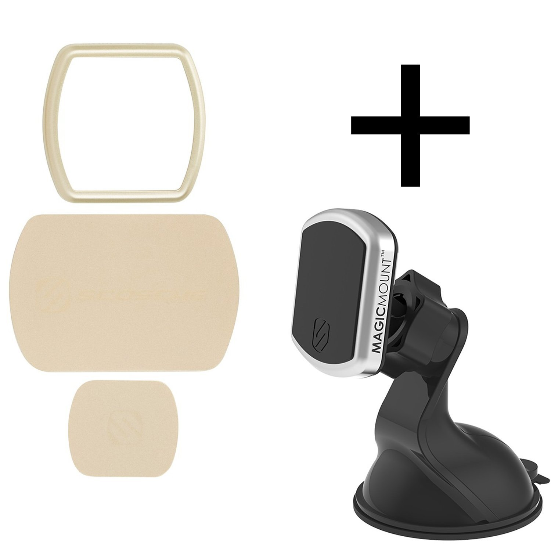 Scosche MagicMount Pro Window/Dash Bundle Kit Gold - Cradle-Less, Magnetic Phone Car Mount With 360 Degree Swivel StickGrip Suction Cup
