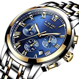LIGE Men's Quartz Stainless Steel Watch, Color:Blue (Model: DS13)