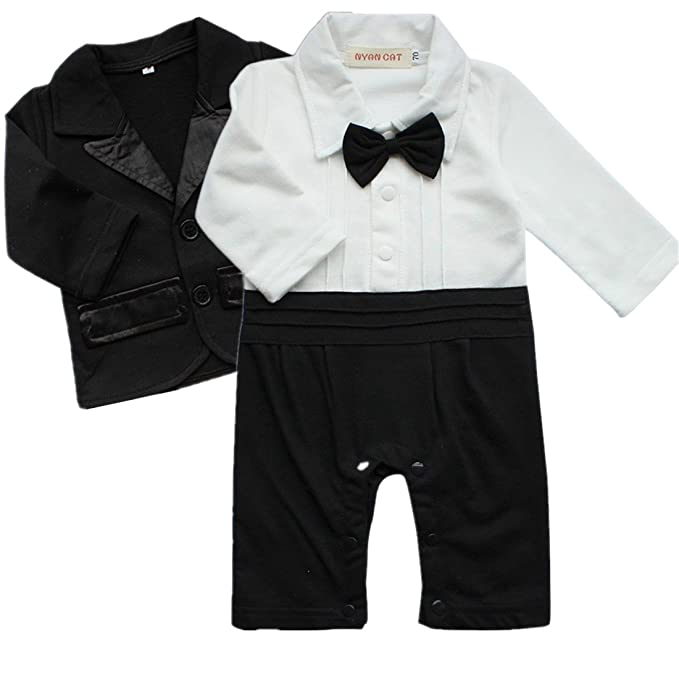 b6ddb30a97e0b5 iiniim 2pcs Baby Boys Outfits Clothes Wedding Gentleman Jumpsuit Bow Tie  Romper + Suit Coat Costumes