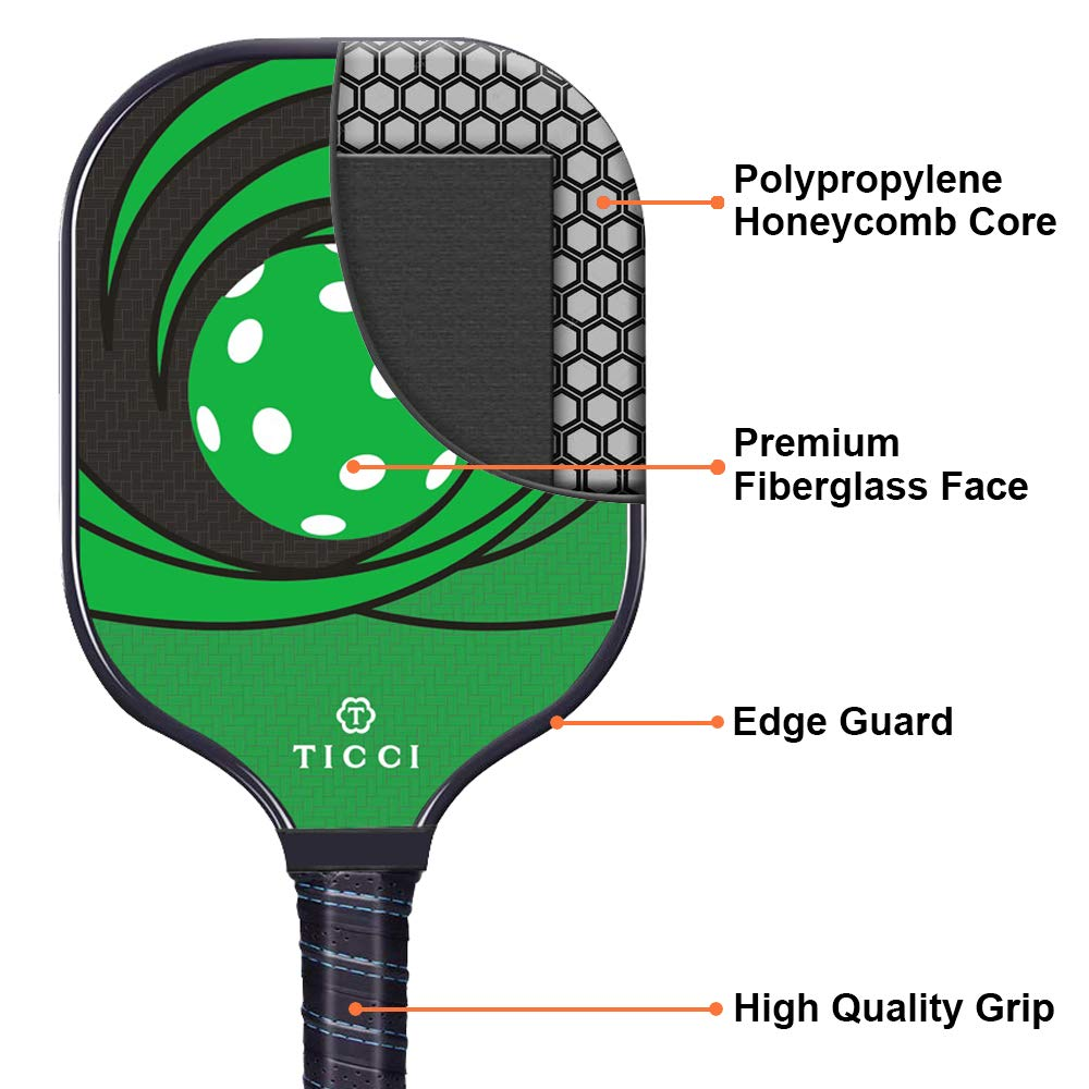 TICCI Pickleball Paddle Graphite Carbon Fiber or Fiberglass Face Pickleball Racket Honeycomb Core Pickleball Racquet Single or Set Includes 2 ...