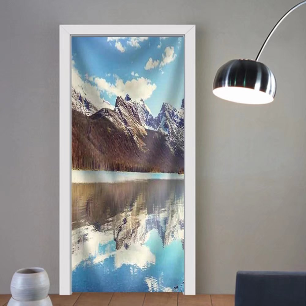 Niasjnfu Chen custom made 3d door stickers Picturesque Rocky Peaks of the Glacier National Park Montana Usa Fabric Home Decor For Room Decor 30x79