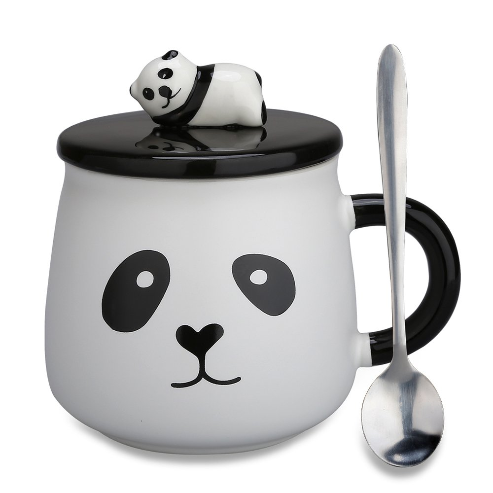 Lovely Cute 3D Panda Gifts for Mom Ceramic Coffee Mug Milk Tea Cup with Funny Lid and Stainless Steel Spoon-Perfect Novelty Gift for Mom, Girls, Girlfriend, Wife, Panda Lovers (Panda-4)