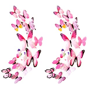 Heansun 24 PCS Butterfly Wall Decals, Butterfly Wall Stickers for Room Home Nursery Decor (Pink)