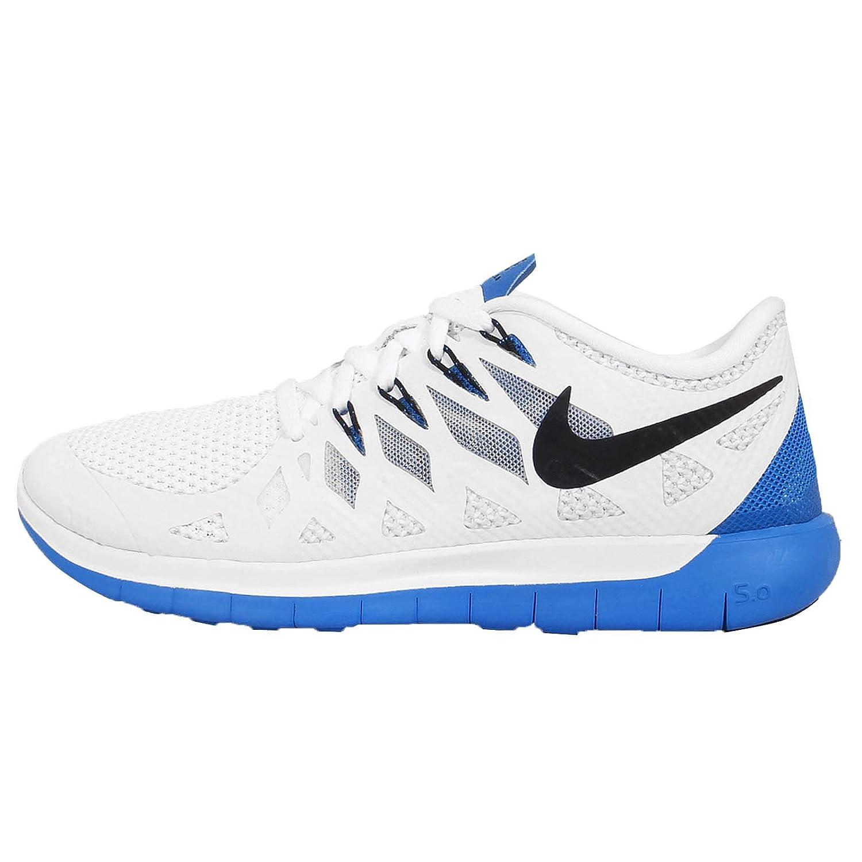 Nike Free 5.0 - Zapatillas de running de material sintético para mujer 38 EU|WHITE/BLACK-PHOTO BLUE-PURE PLATINUM