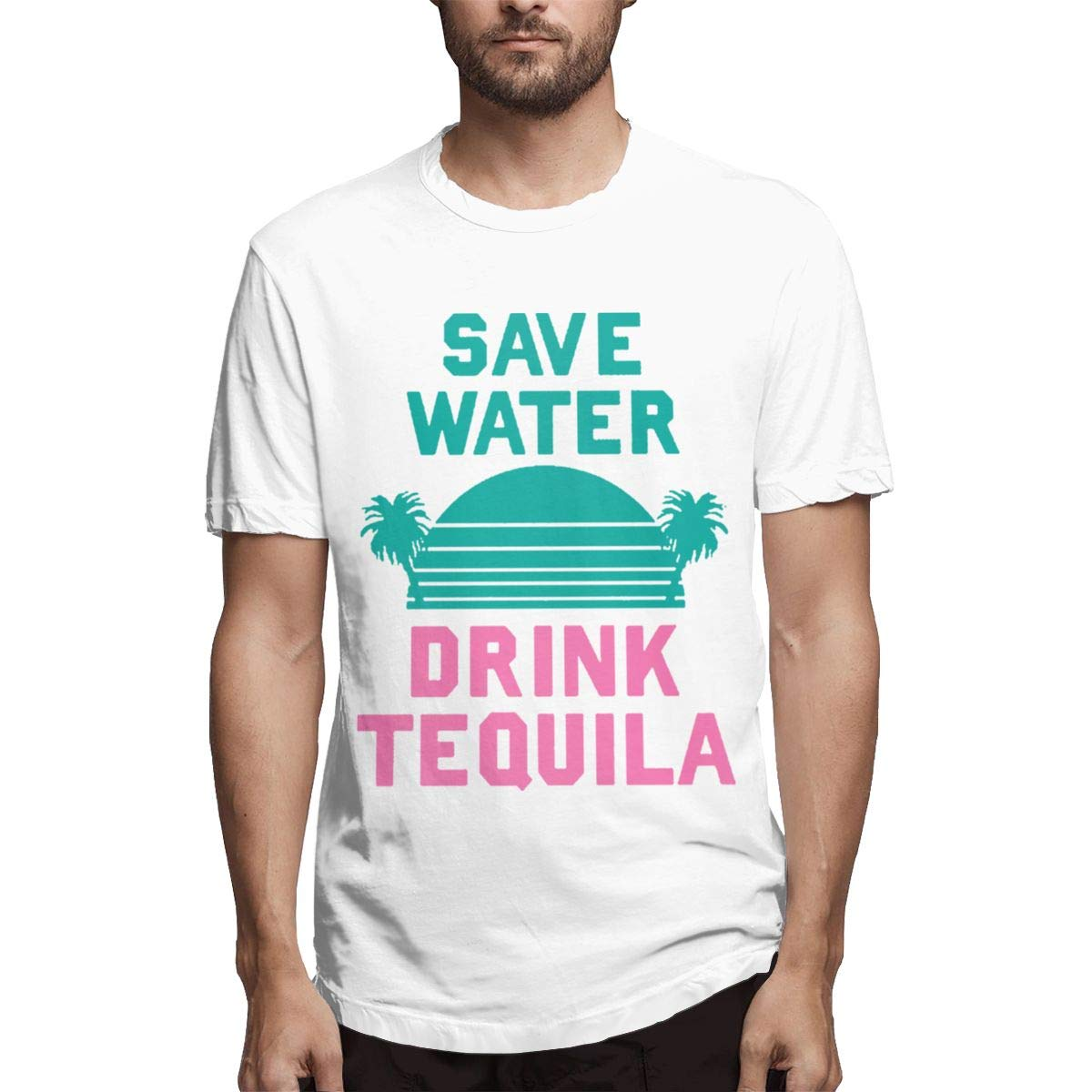 LANBRELLA Mens Save Water Drink Tequila Humor Crew-Neck Short Sleeve T-Shirt for Mens