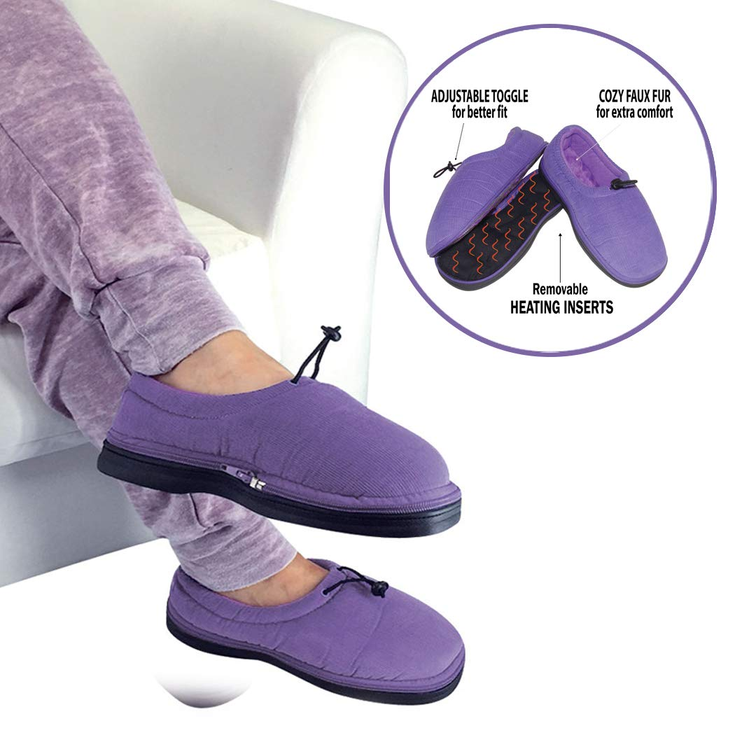 Thermo Shoes Microwavable Heating Pad by Nature Creation- Microwave Heated Foot Warmers for Men and Women - Perfect Heat Therapy Slippers for Cold Feet, Foot Pain, Sore or Tired Feet -Purple Medium