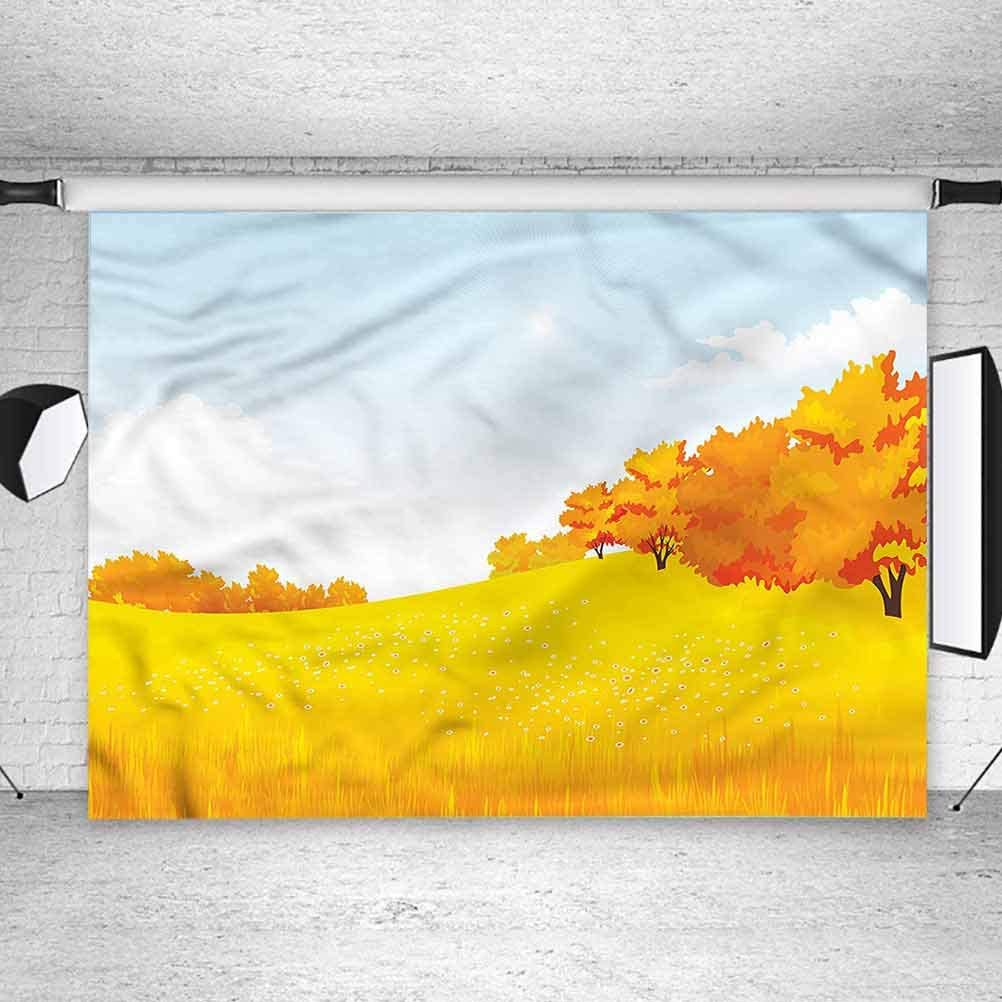 6x6FT Vinyl Photography Backdrop,Nature,Autumn Meadow Forest Design Photo Background for Photo Booth Studio Props