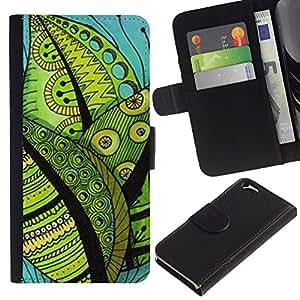 KingStore / Leather Etui en cuir / Apple Iphone 6 / Contraste Dibujo Hojas trullo Verde