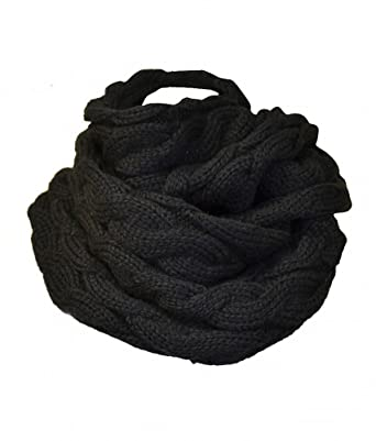 Anytime Scarf Womens Black Chunky Knitted Cable Pattern Infinity