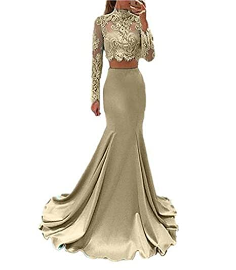 Champagne High Neck Lace Long Sleeve 2 Piece Prom Dresses Mermaid Homecoming Gowns US2