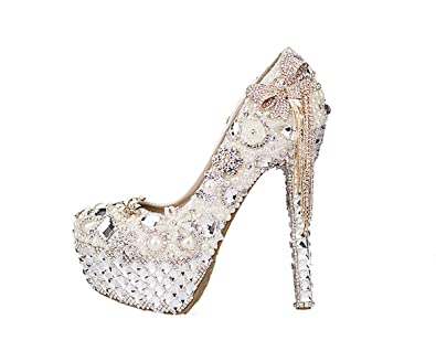 7a41d5500ad6 Unicrystal Women s Closed Round Toe Crystal Rhinestone Pumps Stiletto High  Heel Bridal Wedding Shoes Ivory 7.5