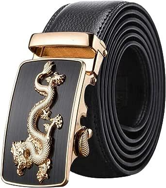 Cinturones Cuero Genuino Hombres, Cinturón Vestir Piel Vaca Negro/marrón, Caja Regalo, Cinturones Hebillas Metal Dragón Trinquete Automático Pantalones Vaqueros105-125 Cm Ancho 35 Mm, Adornos Ajustarse: Amazon.es: Ropa y accesorios