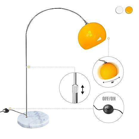 CCLIFE Lámpara de pie Lamparas Mármol con interruptor de cable y pie,bombilla E27 de máximo 60w, Color:Naranja