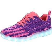 FLARUT USB Charging LED Shoes Breathable Light Up Sneakers for Kids Boys Girls(Purple,33 EU)