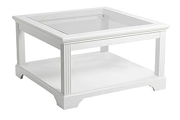 Couchtisch Charlot Glas Holz Wohnzimmer Tisch Beistelltisch Weiss