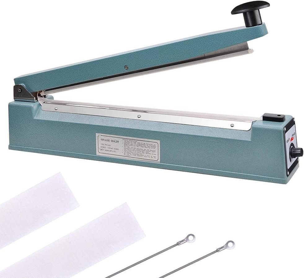 8 inches Impulse Heat Sealer Bag Sealer Packaging Machine 3mm Sealing for Bag Width Sealing Machine for Self Sealing Plastic with Extra 4 Replacements 2 Fuse Kit