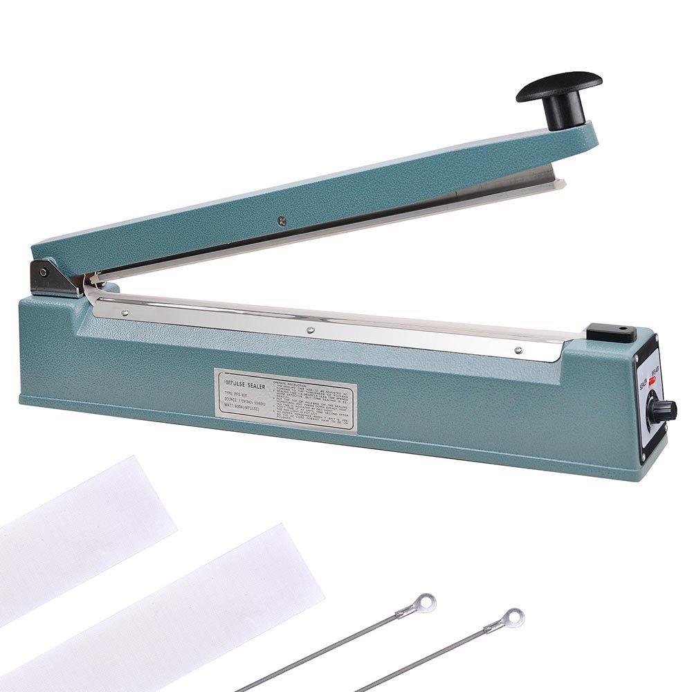 Yescom 16'' 400mm Manual Impulse Heat Sealer Sealing Machine Poly Plastic Bag w/Teflon & Elements